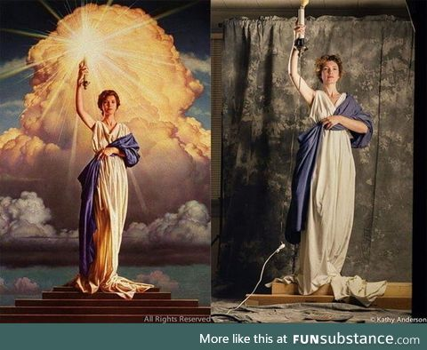 28 year old Jenny Joseph posing for Columbia Pictures logo, 1992