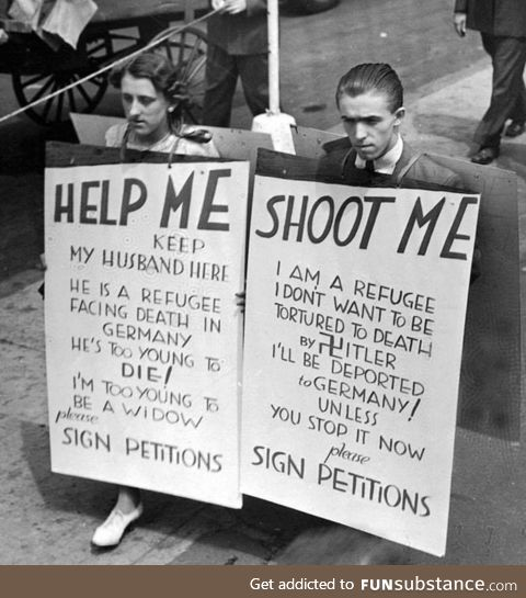 A couple protesting in NYC, 1940