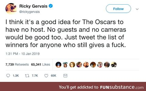 Gervais with a solution for The Oscars