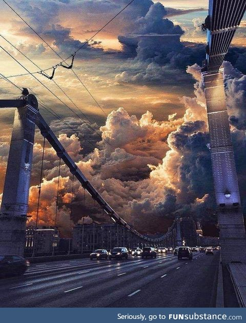 Apocalyptic sunset over Moscow