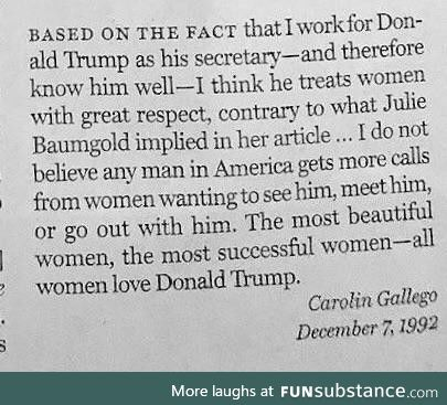 Looks like Trump wrote to New York Magazine in 1992