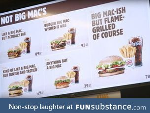 "McDonald's lost the right to trademark the ""Big Mac"" within the EU so"