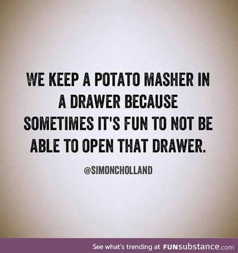 Potato masher in a drawer
