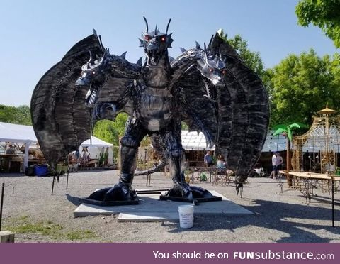 This dragon made from scrap metal