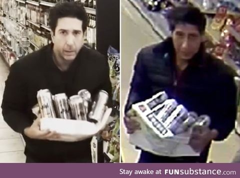 Theif in England is David Schwimmer's doppleganger. David replicates evidence
