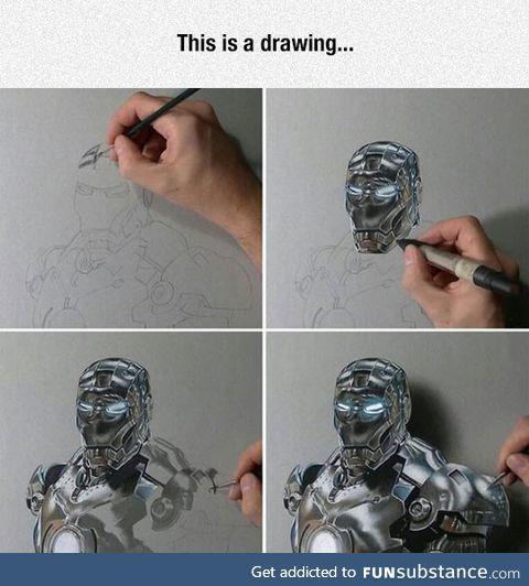 Iron-man ultra realistic drawing