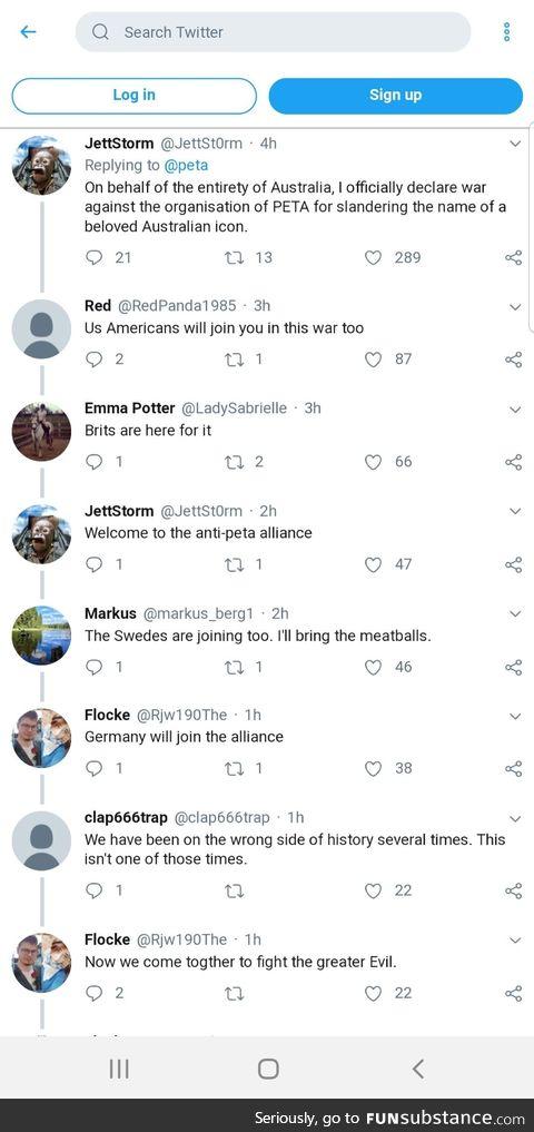 The anti-Peta alliance