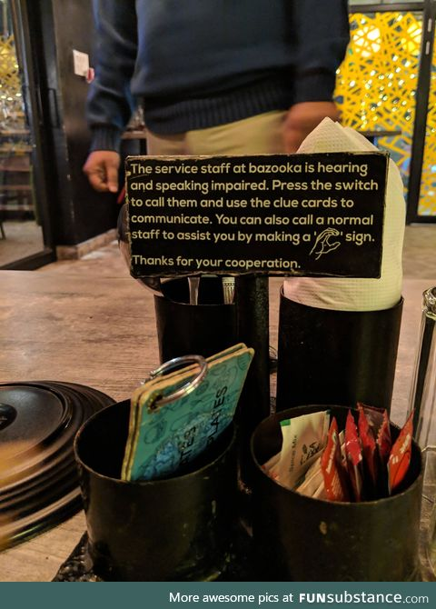 A restaurant that employs hearing and speaking impaired