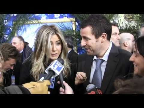 Giant Reporter Scares Jennifer Aniston And Adam Sandler