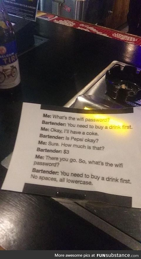 Sign at a bar