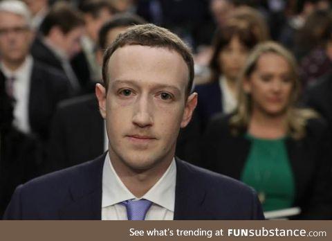 Mark Zuckerberg always looks like the guy in a zombie movie who's been bitten but is