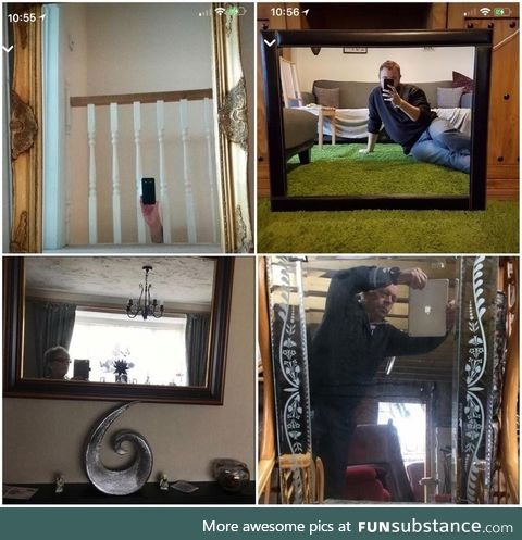 Looking at pictures online of people trying to take photos of mirrors they want to sell