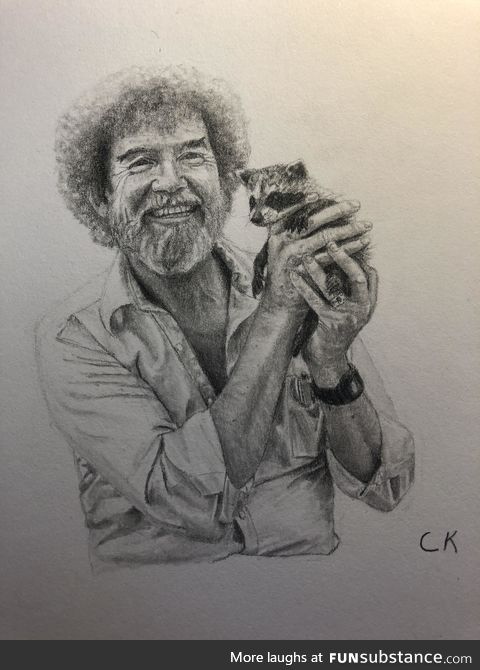 Pencil Drawing of Bob Ross
