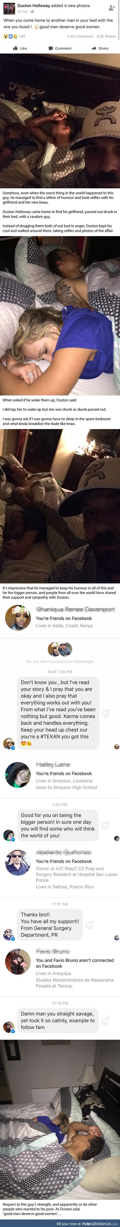 Caught his girl cheating, took selfies