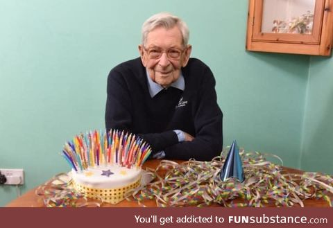 Robert Weighton looking quite good for a man turning 111 years old
