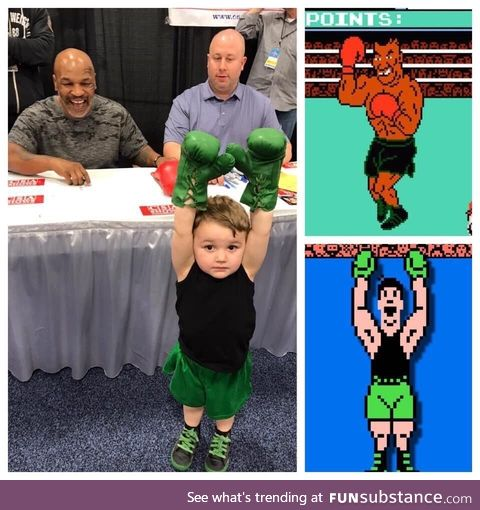 Lil Mac from punch-out met mike Tyson today! How adorable!