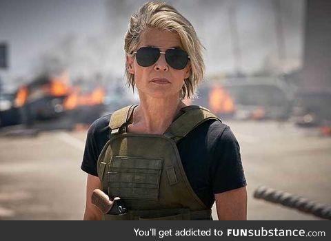 Linda Hamilton reprising her role as Sarah Conner in the upcoming Terminator: Dark Fate