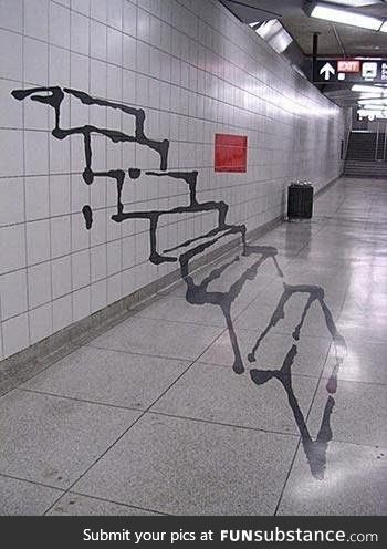This graffiti optical illusion stairs