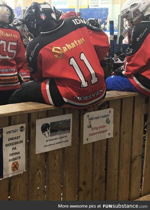 Kids hockey team with Sabaton as a sponsor
