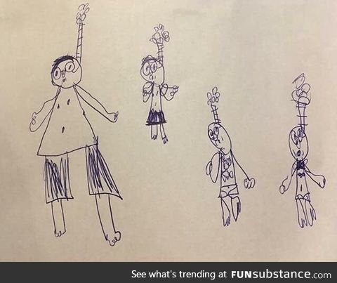 """This picture someone's kid drew of their family """"snorkelling"""""""