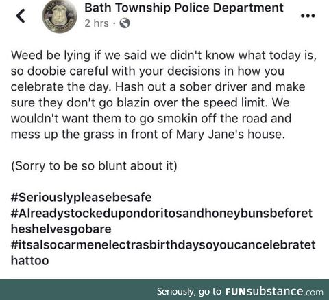4/20 message from the local police
