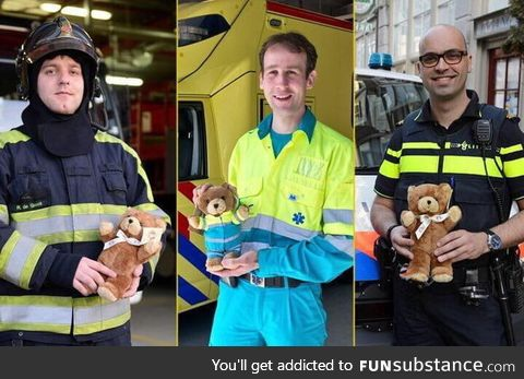 In The Netherland every first responder vehicle is equipped with a teddybear to give