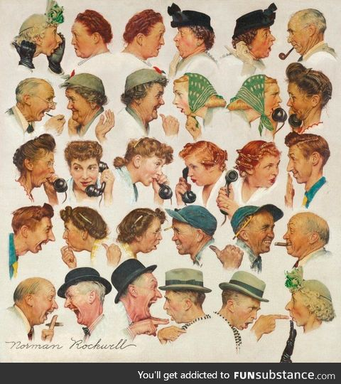 """""""Chain of Gossip"""" by Norman Rockwell"""