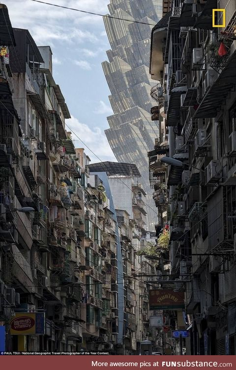 """This looks like """"Inception"""" but its a real photo from the streets of Macau"""