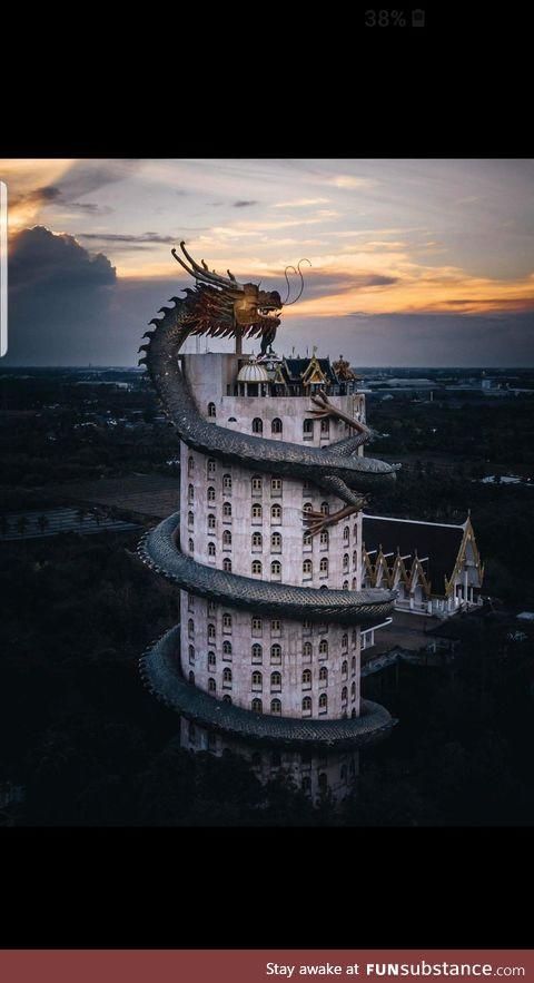 Wat Samphran Temple during sunset