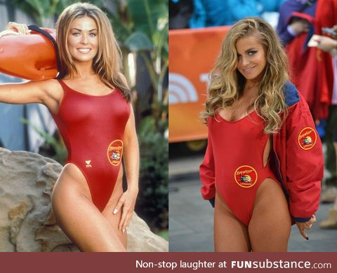 Carmen Electra in her Baywatch uniform 16 years apart, 1997, 2013