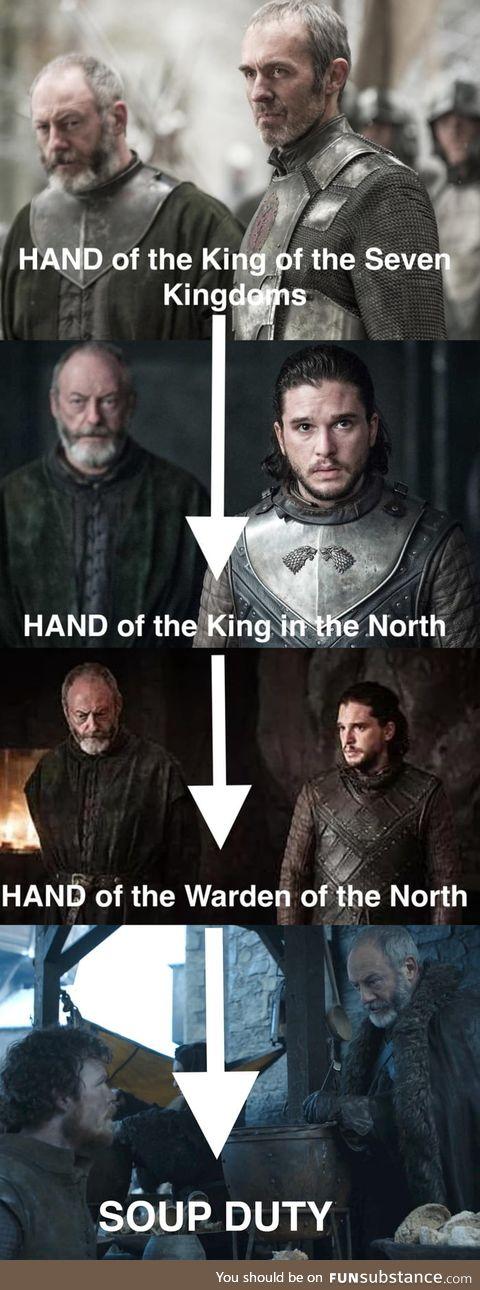 Ser Davos got promoted