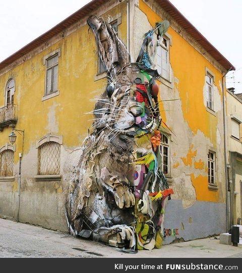 Street art : Half rabbit