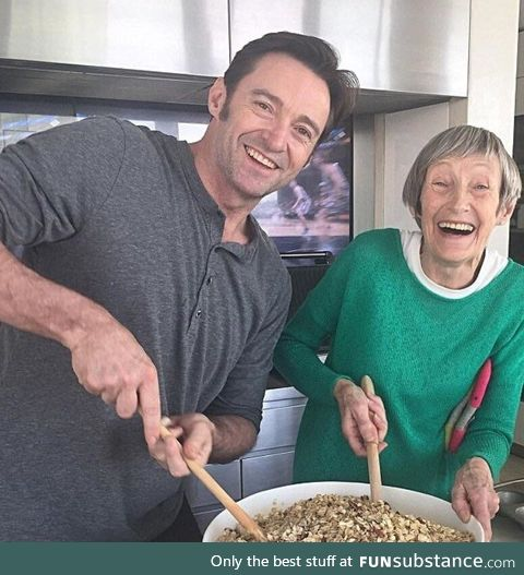 Hugh Jackman baking with his Mom on Mother's Day
