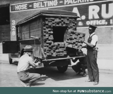 A lumber truck converted to a stash truck to smuggle illegal liquor during prohibition!