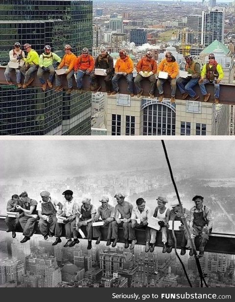 Chicago Ironworkers recreate the famous picture from the 1930s!