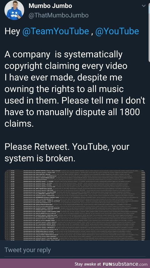 Youtuber gets every single video on his channel copyright..