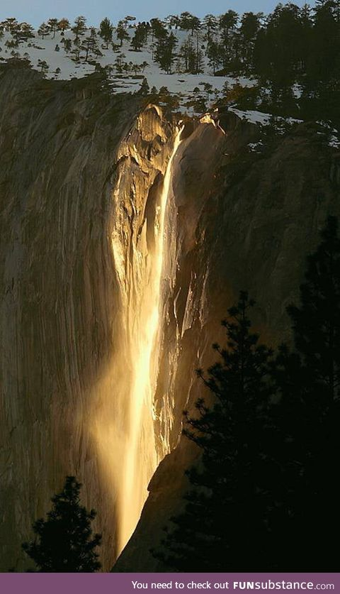 Once every year, the sun hits Yosemite's waterfalls just right to make it light up