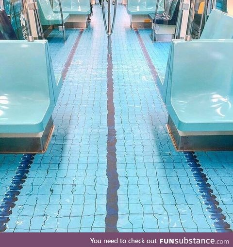 Subway floor painted to resemble a swimming pool