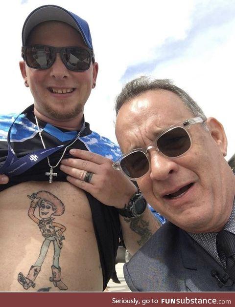 Tom Hanks looking a little disturbed