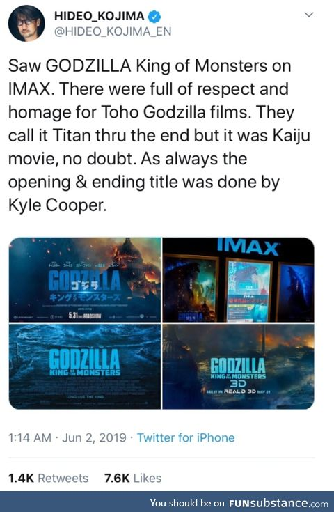 Kojima seems to like new Godzilla