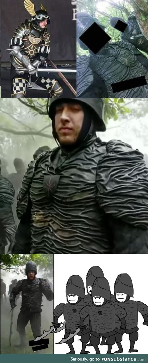 Left is the Nilfgaardian armor made by a hobbyist with his own budget, Right is the