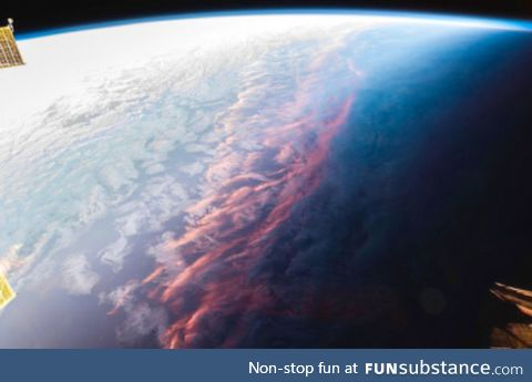 sunset on earth from space