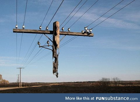 The remains of this pole after it was on fire is amazing