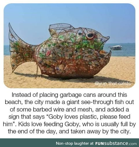 All it took to clean up this beach was a fish sculpture named goby