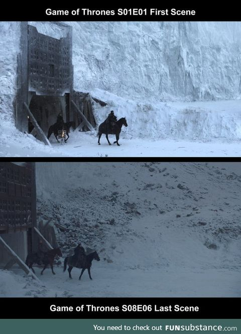 The first scene of Game of Thrones vs the last scene of Game of Thrones