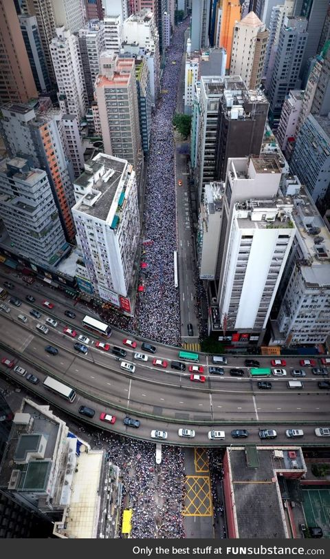 Arial view of the protests in Hong Kong