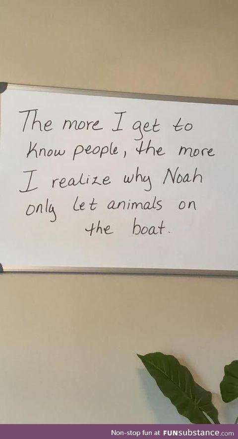 Noah figured it out