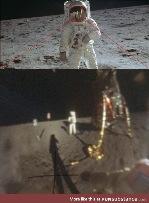 The clearest photo of Neil Armstrong walking on the moon...Enhanced from the reflection