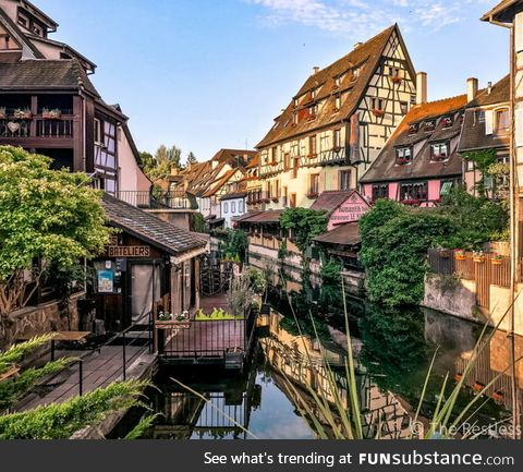 This is Colmar, France. It was the inspiration for the town in Howl's Moving Castle
