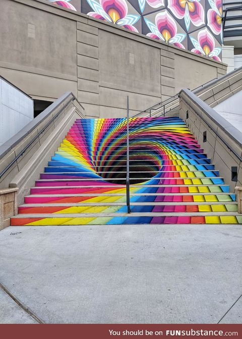 Tunnel art on stairs, SLC, UT